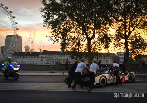 The team push the car around Embankment before starting up to head back over Westminster Bridge to County Hall Hotel.