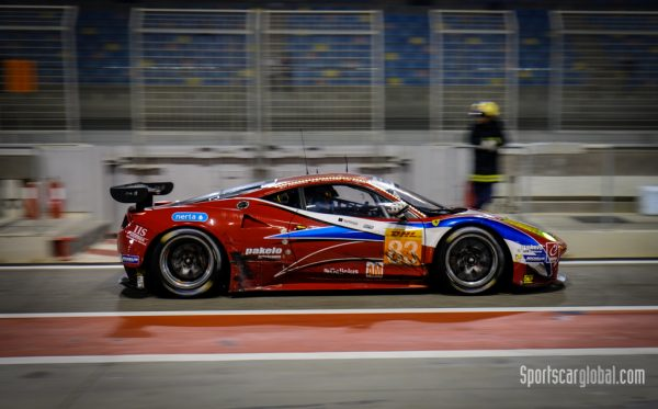 The AF Corse Ferrari 458 Italia leaves pitlane for the last time on its way to the 2016 Am Driver's title.